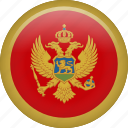 circle, country, flag, montenegro, national icon
