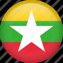 myanmar, circle, country, flag, national
