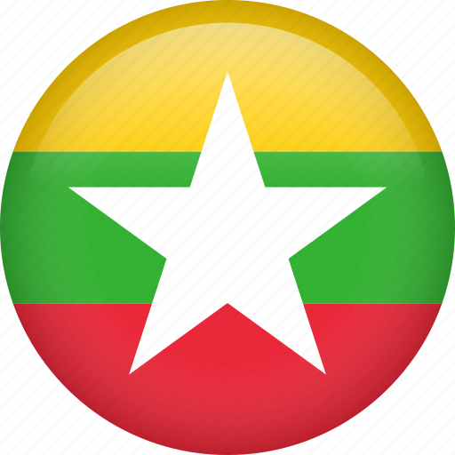 circle, country, flag, myanmar, national icon