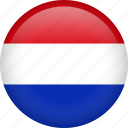 netherlands, circle, country, flag, national, nation