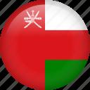 oman, circle, country, flag, national, nation icon