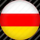 circle, country, flag, nation, national, ossetia icon