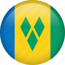 circle, country, flag, national, saint vincent and the grenadines icon