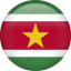 circle, country, flag, nation, national, suriname icon