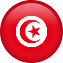 circle, country, flag, nation, national, tunisia icon