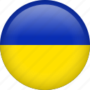 ukraine, circle, country, flag, national, nation