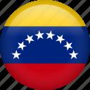 flag, venezuela, circle, country, national, nation