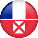 circle, country, flag, nation, national, wallis and futuna icon