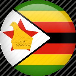 circle, country, flag, nation, national, zimbabwe icon