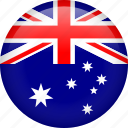 australia, circle, country, flag, nation, national icon