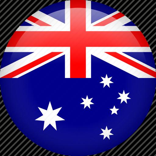 australia, circle, country, flag, nation, national icon