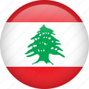circle, country, flag, lebanon, national icon