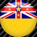 niue, circle, country, flag, national, nation