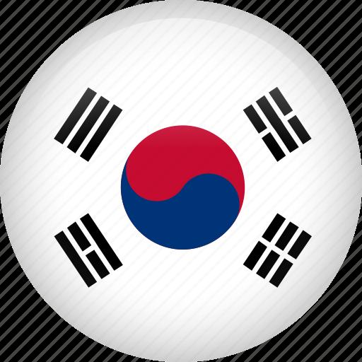 circle, country, flag, nation, national, south korea icon