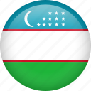 circle, country, flag, nation, national, uzbekistan icon