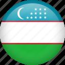 circle, country, flag, nation, national, uzbekistan icon