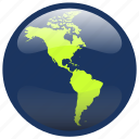 america, continent, earth, globe, map icon