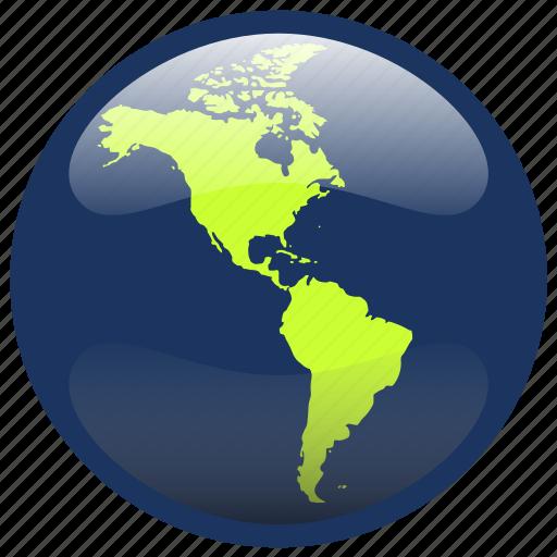 america, continent, earth, globe, map icon
