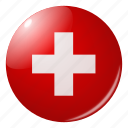 circle, country, flag, flags, national, round, switzerland icon