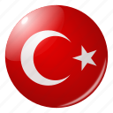 circle, country, flag, flags, national, round, turkey icon