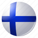 circle, country, finland, flag, flags, national, round icon
