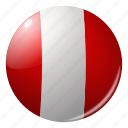 circle, country, flag, flags, national, peru, round icon