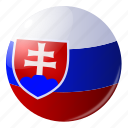 circle, country, flag, flags, national, round, slovakia icon