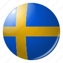 circle, country, flag, flags, national, round, sweden icon