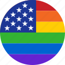united, states, pride, flag, circle, rainbow, lgbt