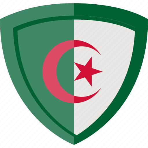 algeria, flag, shield icon
