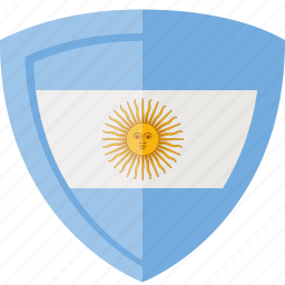argentina, flag, shield icon