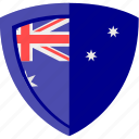 australia, flag, shield icon