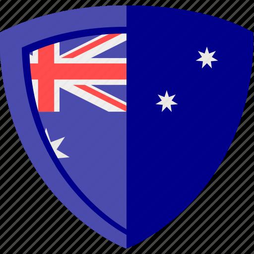 australia, flag, shield icon