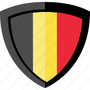 belgium, flag, shield icon