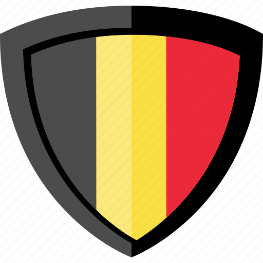 belgium, flag, shield icon
