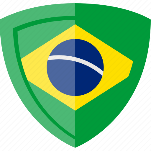 brazil, flag, shield icon