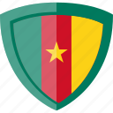 cameroon, flag, shield icon