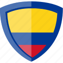 colombia, flag, shield icon