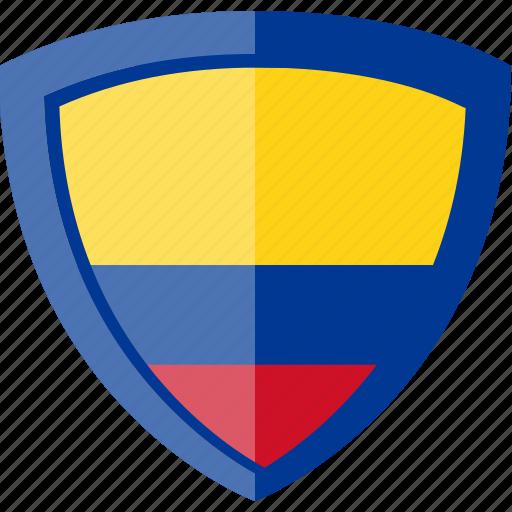 colombia, flag, shield icon