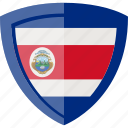 costa rica, flag, shield icon