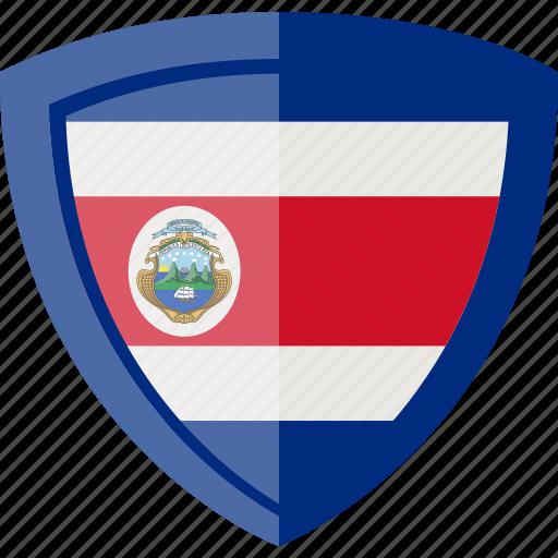 costa rica, flag, shield icon