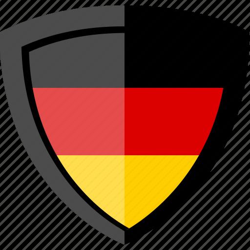 flag, germany, shield icon