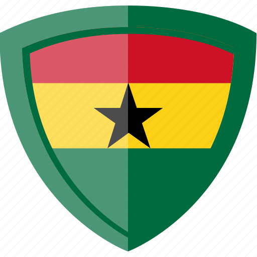 flag, ghana, shield icon