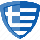 flag, greece, shield icon