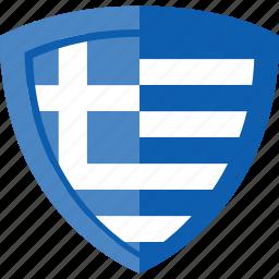 flag, greece, shield icon