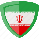 flag, iran, shield icon