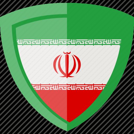 flag, iran, shield icon