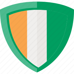 flag, ivory coast, shield icon