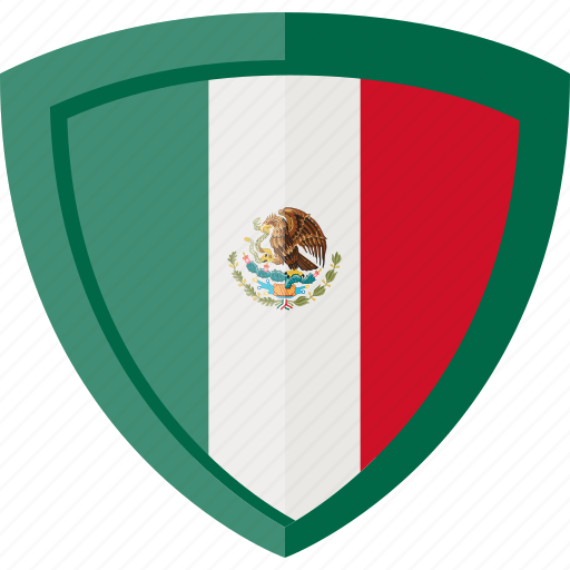 flag, mexico, shield icon
