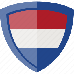 flag, holland, netherlands, shield icon